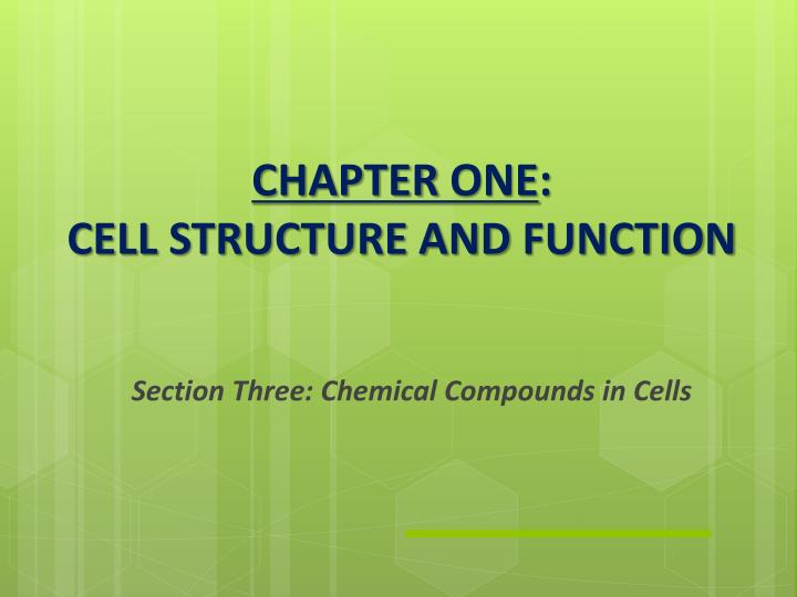 Chapter one cell structure and function