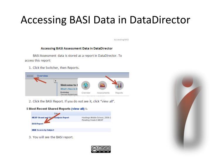 Accessing BASI Data in DataDirector