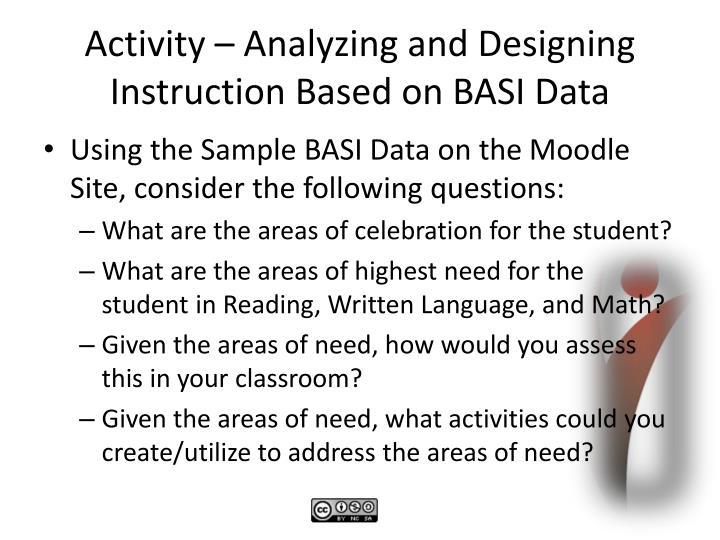 Activity – Analyzing and Designing Instruction Based on BASI Data