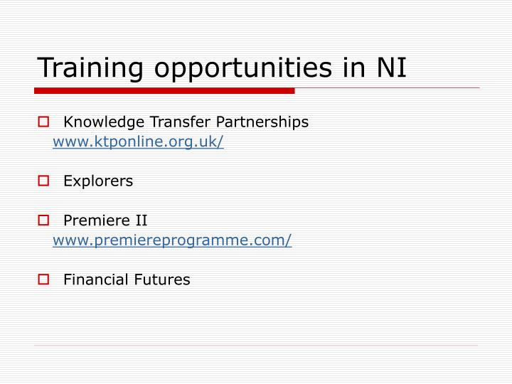 Training opportunities in NI