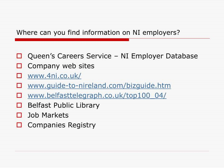 Where can you find information on NI employers?