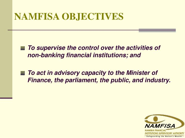objectives of non banking financial institutions