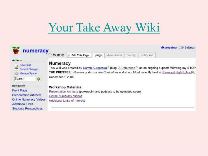 Your Take Away Wiki