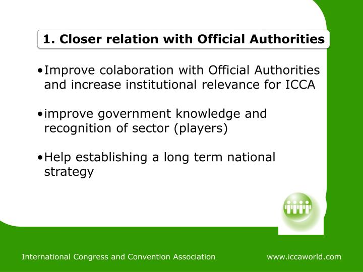 Improve colaboration with Official Authorities