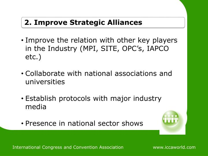 Improve the relation with other key players in the Industry (MPI, SITE, OPC