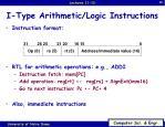 i type arithmetic logic instructions