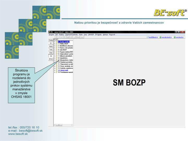 Štruktúra programu je rozdelená do jednotlivých prvkov systému manažérstva vzmysle OHSAS 18...