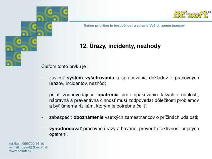 12.Úrazy, incidenty, nezhody