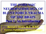 the forensic neuropathology of blunt force trauma of the brain part 1 an introduction