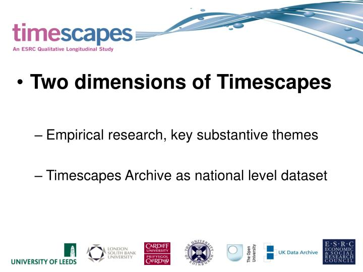 Two dimensions of Timescapes