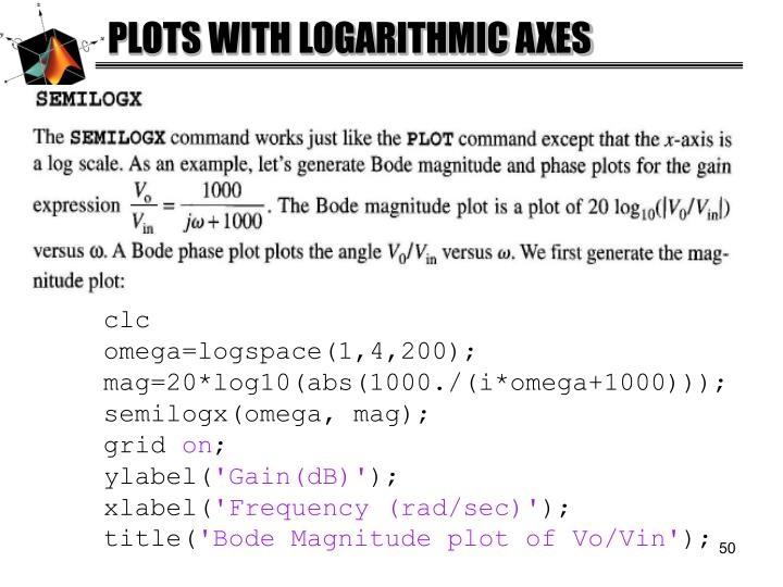 PLOTS WITH LOGARITHMIC AXES