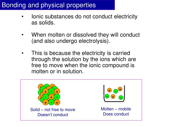 Bonding and physical properties