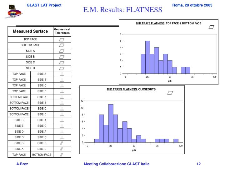 E.M. Results: FLATNESS