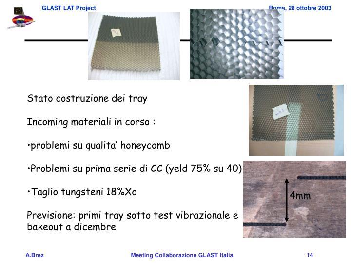 Stato costruzione dei tray