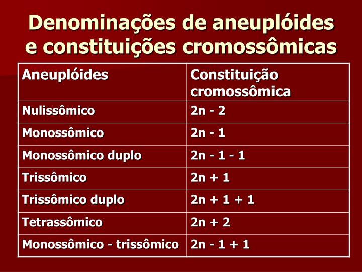 Denominações de aneuplóides e constituições cromossômicas