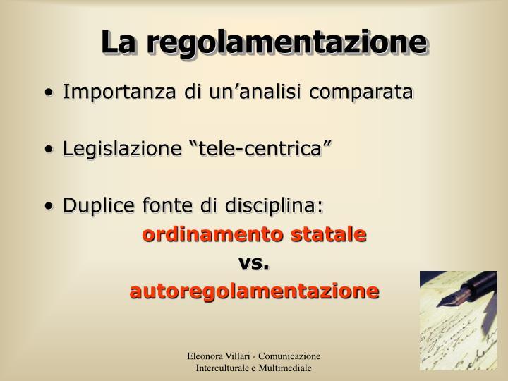 La regolamentazione