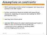 assumptions on constraints