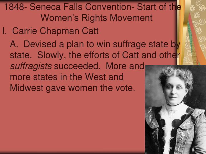 the womens rights movement from 1848 to 1998 1840: women's rights movement split off from this other movement right to control property, custody of children upon divorce, right to education and college, right to vote reforms debated over at the first convention of women's rights.