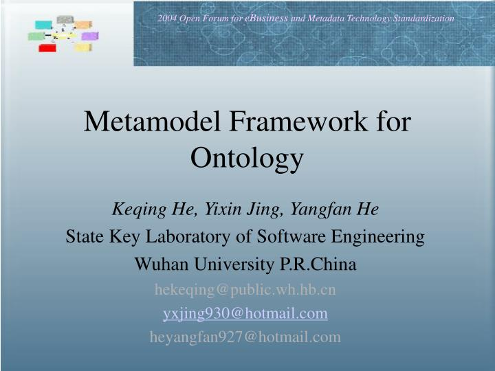 metamodel framework for ontology n.