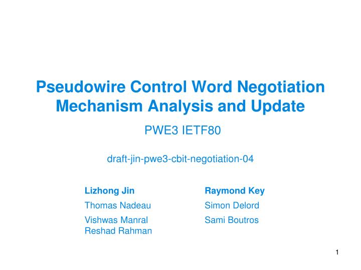 pseudowire control word negotiation mechanism analysis and update n.