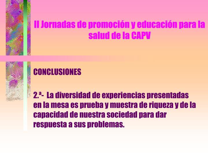 Ii jornadas de promoci n y educaci n para la salud de la capv1