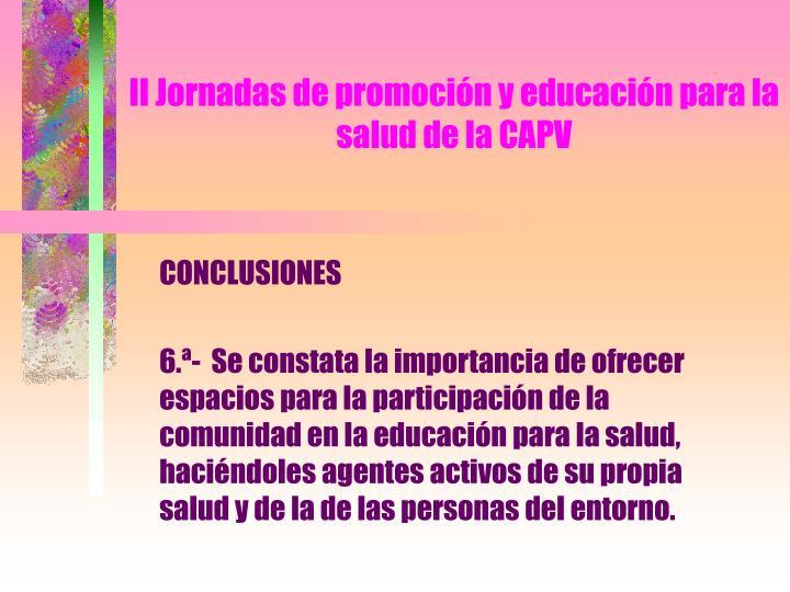II Jornadas de promoción y educación para la salud de la CAPV
