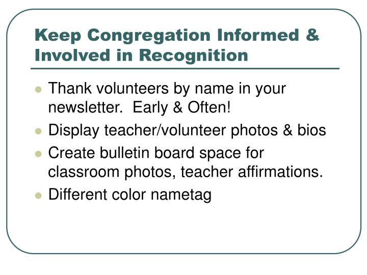 Keep Congregation Informed & Involved in Recognition