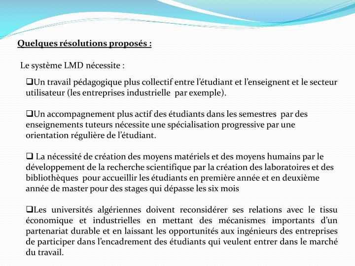 Quelques résolutions proposés: