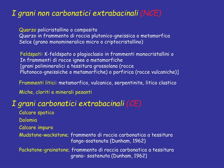 I grani non carbonatici extrabacinali
