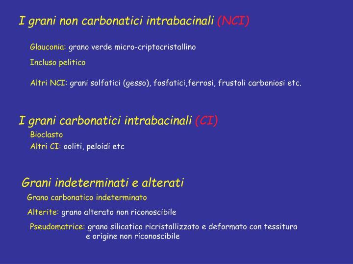 I grani non carbonatici intrabacinali