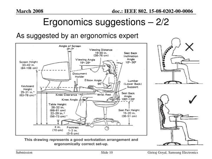 Ergonomics suggestions – 2/2