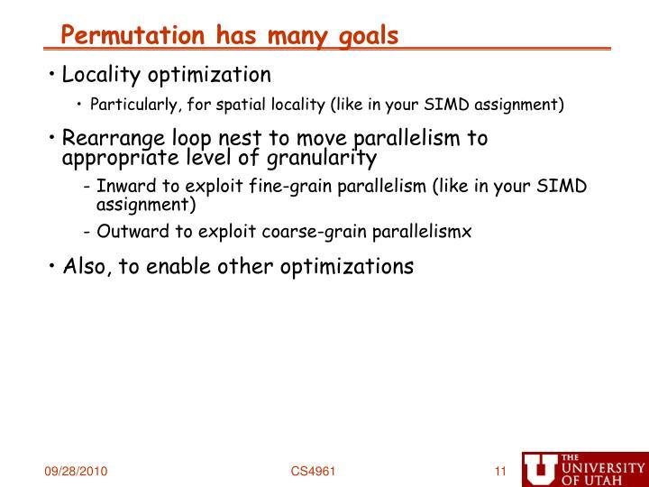 Permutation has many goals