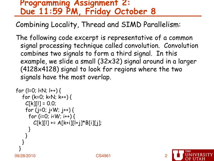 Programming assignment 2 due 11 59 pm friday october 8