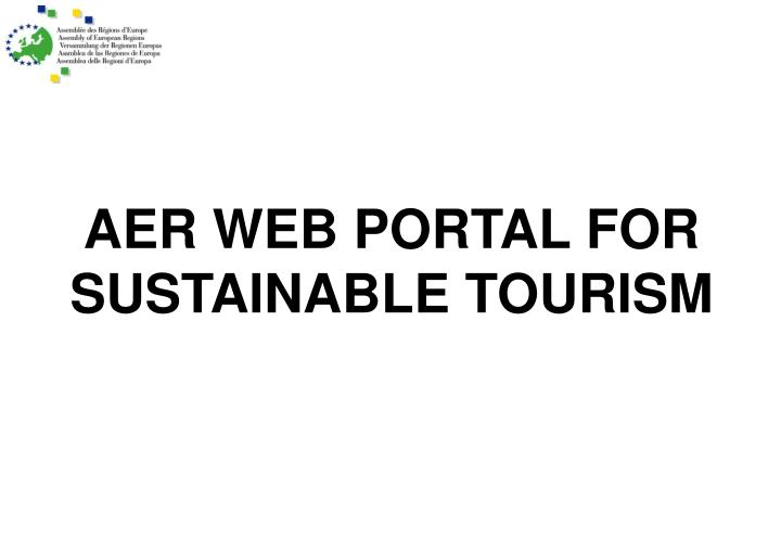 AER WEB PORTAL FOR SUSTAINABLE TOURISM