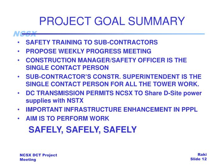 PROJECT GOAL SUMMARY