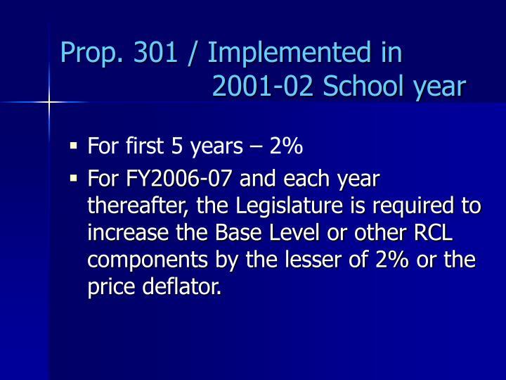 Prop. 301 / Implemented in    2001-02 School year