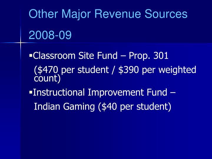 Other Major Revenue Sources