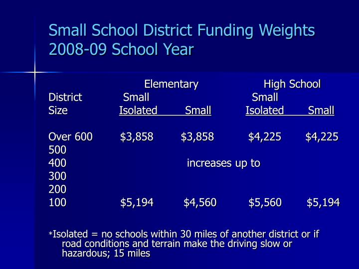 Small School District Funding Weights
