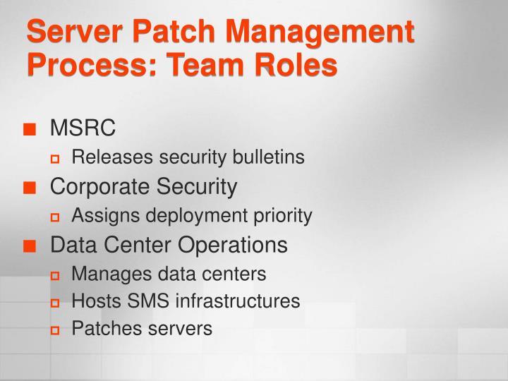 Server Patch Management Process: Team Roles