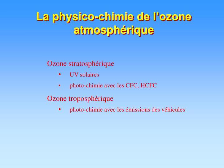 La physico-chimie de l'ozone  atmosphérique