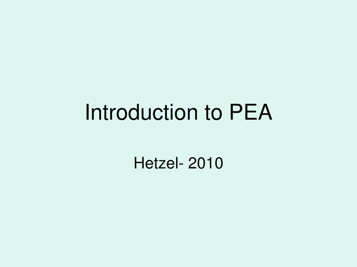 introduction to pea n.