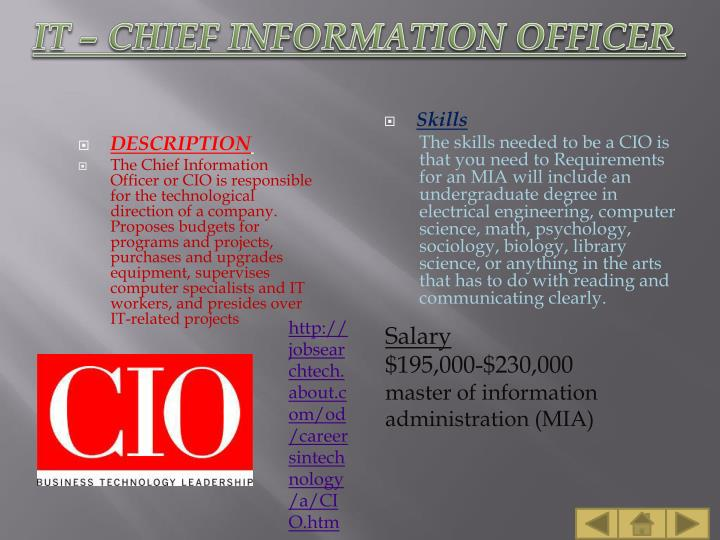 IT – CHIEF INFORMATION OFFICER