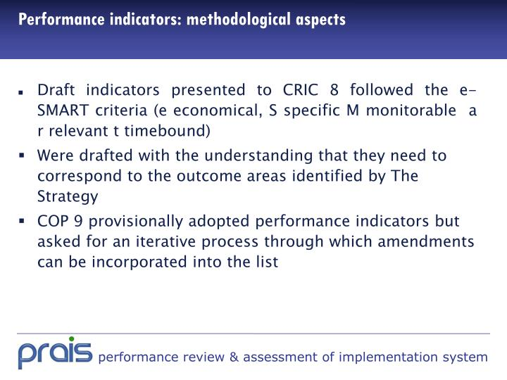 Performance indicators: methodological aspects
