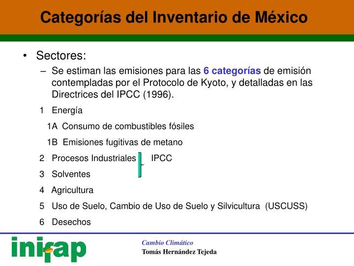 Categorías del Inventario de México