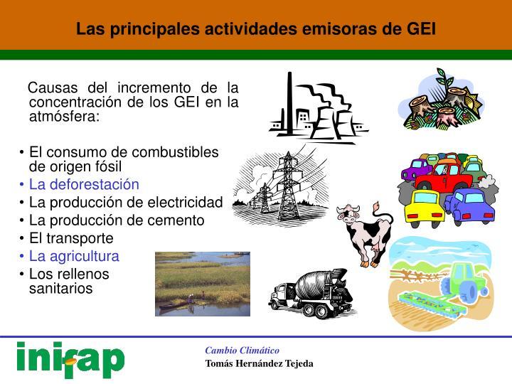 Causas del incremento de la concentración de los GEI en la atmósfera: