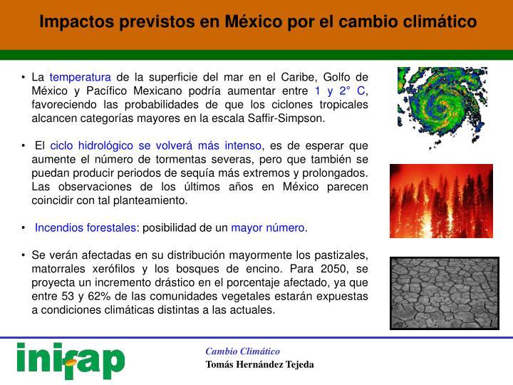 Impactos previstos en México por el cambio climático
