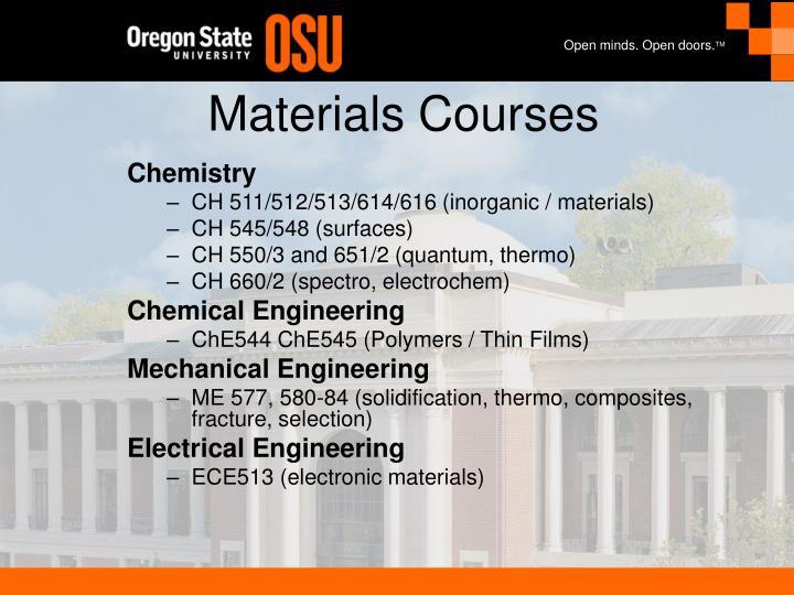 Materials courses