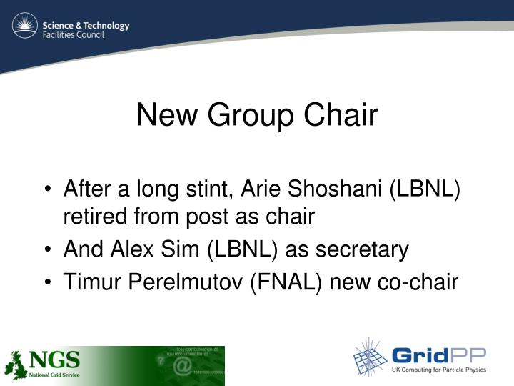 New group chair