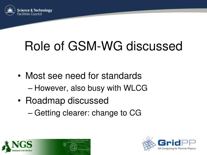 Role of GSM-WG discussed