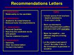 recommendations letters